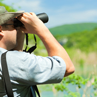 man using binocular in the nature